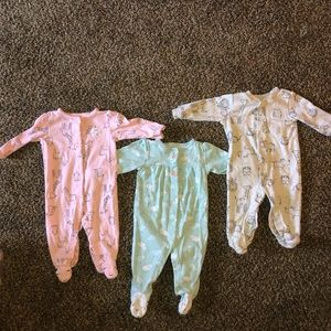 Three carter's button up sleeper pajamas